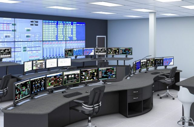 A typical control room in a larger industrial facility