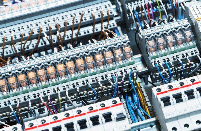 Electrical supplies in switchgear cabinet diagonal shot